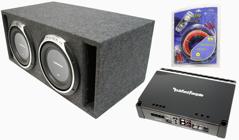rockford fosgate amplified dual 10 quot p3sd410 ported sub enclosure w p500 1bd amplifier 4