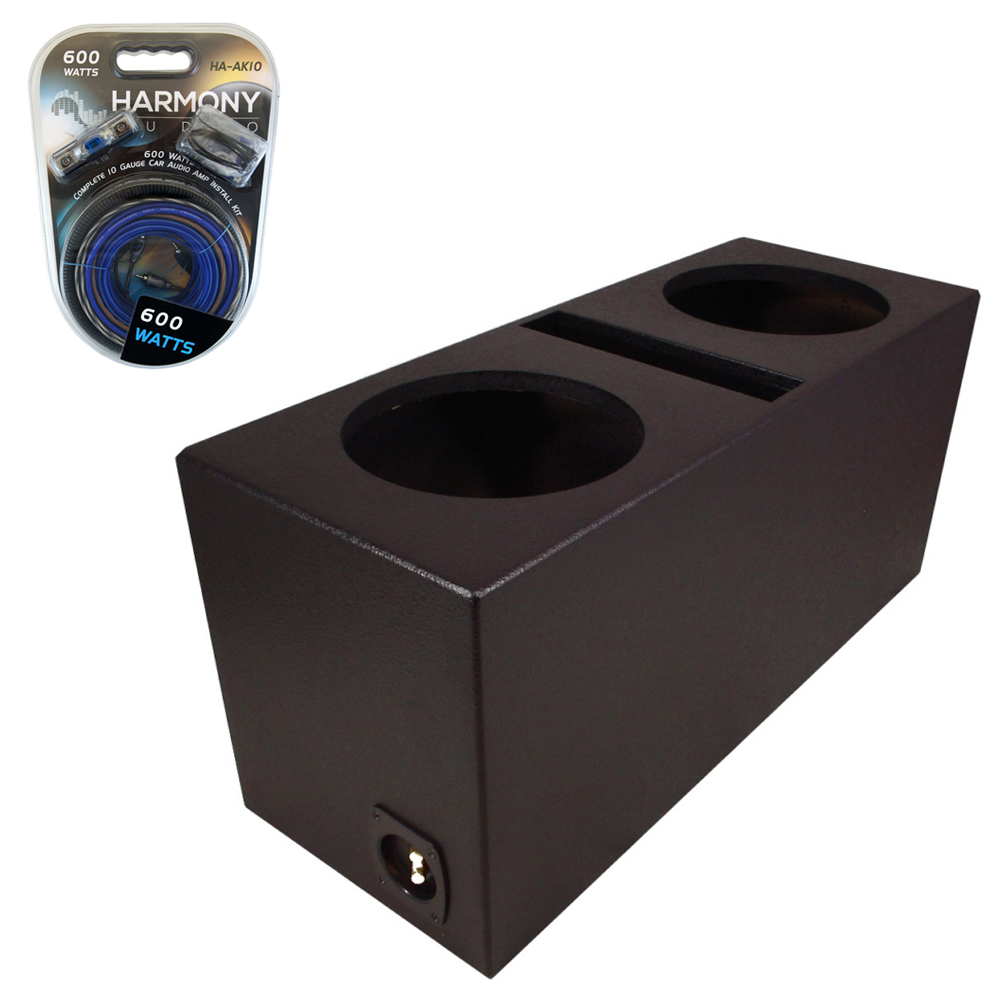 Car audio dual 10 ported subwoofer box rhino lined 5 8 mdf for Box subwoofer in vetroresina