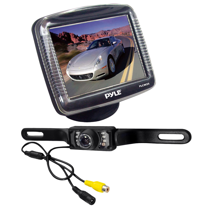 Pyle Backup Camera >> Pyle Car Audio PLCM36 3.5 Inches Slim LCD Stand Monitor Auto Switching with License Plate Mount ...