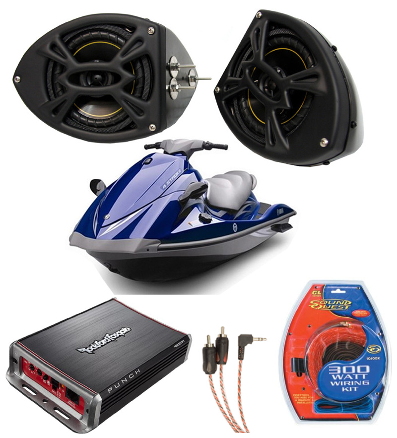 Yamaha Car Audio: Yamaha Wave Runner PWC Marine Kicker DS525 & Rockford Amp
