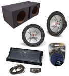 "Kicker Subwoofer System (2) CVR12 Dual 2 Ohm, Dual 12"" Vented Box & ZX1000.1 Amp"
