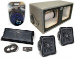 """Kicker Subwoofer Stereo System (2) S12L7 Subs, Dual 12"""" Vented Box, ZX1000.1 & 4 Gauge Kit"""