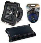 "Kicker Car Audio 15"" Sub System 2011 S15L7 Dual 2 Ohm Subwoofer, DX300.2 Amp & Install Wire Kit"