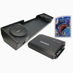 "Rockford Fosgate 88-98 GMC Sierra Extended Cab Truck Dual 12"" R1S412 Powered Subwoofer Box w/ R250-1 Amp & 8 Gauge Kit"