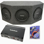 "Rockford Fosgate Triple 12"" R1S412 Powered Sealed Sub Enclosure w/ P500-1BD Amp & 4 Gauge Kit"