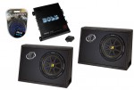 (2) 07 TC10 Loaded 4 Ohm 600W Sub Box Enclosures, Boss R1100M Mono 1100 Watt Amplifier & 4 Gauge Amp Install Kit