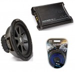 "Kicker Car Stereo 10"" Sub System CVR10 Dual 4 Ohm Subwoofer, ZX350.4 Amp & Install Wire Kit"