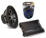 """Kicker Car Stereo 12"""" Sub System CVR12 Dual 4 Ohm Subwoofer, ZX350.4 Amp & Install Wire Kit"""