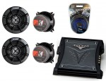 "Kicker Car Stereo KS40 Two Way 4"" Four Speakers, ZX350.4 Amplifier & 8GA Amp Install Kit"