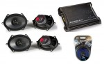 "Kicker Car Audio KS68 Two Way 5x7"" 6x8"" Four Speakers, ZX350.4 Amplifier & Amp Wire Kit"