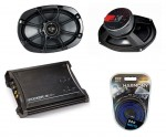 "Kicker Car Audio KS69 Two Way 6x9"" Speakers, ZX350.4 Amplifier & Power Wire Amp Kit"