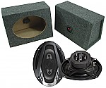 "Boss Car Stereo Loaded Angle Cut 6x9"" Speaker Boxes & NX694 Onyx 800W 4-Way Speakers"
