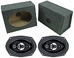 "Boss Car Stereo Loaded Angle Cut 6x9"" Speaker Boxes & SE695 Chaos 600W 5-Way Speakers"