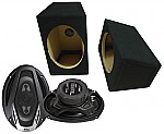 "Boss Car Stereo Loaded Wedge 6x9"" Speaker Boxes & NX694 Onyx 800W 4-Way Speakers"