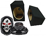"Boss Car Audio Loaded Wedge 6x9"" Speaker Boxes & SK694 Phantom 750W 4-Way Speakers"