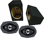 "Boss Car Stereo Loaded Wedge 6x9"" Speaker Boxes & SE695 Chaos 600W 5-Way Speakers"