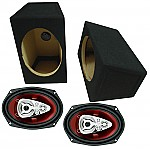 """Boss Car Audio Loaded Wedge 6x9"""" Speaker Boxes & CH6950 Chaos 600W 5-Way Speakers"""