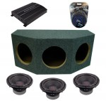 "Power Acoustik CW2-104 Sub Loaded Car Stereo Dual 10"" Crypt Sealed Sub Box with REP1-2100D Amplifier & 4GA Amp Kit"