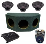 "Power Acoustik CW2-124 Sub Loaded Car Stereo Dual 12"" Crypt Sealed Sub Box with REP1-2100D Amplifier & 4GA Amp Kit"