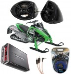 "Artic Cat Snowmobile Kicker KS525 & Rockford Amp Custom 5 1/4"" Speaker Pod Package"