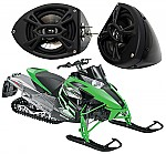 "Artic Cat Snowmobile Kicker Package KS525 Custom 5 1/4"" Gloss Black Speaker Pods Pair"