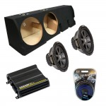 "Ford F-150 Super Crew Truck 01-03 Dual 12"" Kicker CVR12 Subwoofer Enclosure Sub Box with CX600.1 Amplifier & Amp Kit"