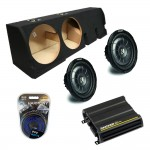 "Ford F-150 Super Crew Truck 01-03 Dual 10"" Kicker CVT10 Subwoofer Enclosure Sub Box with CX600.1 Amplifier & Amp Kit"