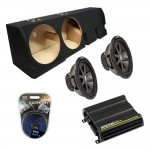 "Ford F-150 Super Crew Truck 01-03 Dual 10"" Kicker CVR10 Subwoofer Enclosure Sub Box with CX600.1 Amplifier & Amp Kit"