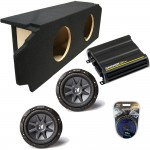 "Scion TC Coupe 05-10 Dual 10"" Kicker CVR10 Subwoofer Enclosure Sub Box with CX600.1 Amplifier & Amp Kit"