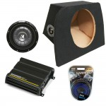 "Mazda Miata MX-5 90-05 Single 10"" Kicker Comp CVT10 Subwoofer Enclosure Sub Box with CX300.1 Amplifier & Amp Kit"