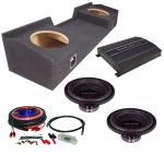 "Power Acoustik RW1-10 Sub 04-12 Nissan Titan King Cab Truck Loaded Dual 10"" Sub Box with REP1-2000 Amplifier & 4GA Amp Kit"