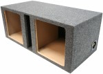 "Dual 10"" Square Cutout Vented Subwoofer Box Enclosure (Gray)"