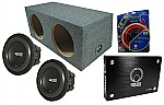 "RE Audio SXX10 Car Stereo Powered Dual 10"" Sealed Sub Box Enclosure, XTX-3000.1 Amplifier & 1/0 Gauge Amp Wire Kit"