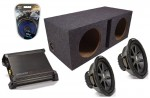 "Kicker Car Audio 12"" Pair CVR12 Dual 2 Ohm Loaded Vented Subwoofer Box, DX500.1 Amp & Amplifier Install Kit"