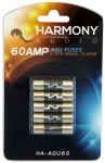 Harmony Audio HA-AGU60 Stereo Fuseholder 5 Pack 60 Amp AGU Fuses - Nickel Plated