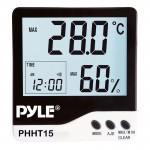 Pyle Car Audio PHHT15 Meters Indoor Digital Hygro-Thermometer with Clock Display