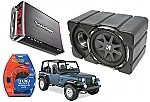 "Jeep Wrangler Kicker CVX10 & Rockford Amp Car Stereo Custom Fit 10"" Subwoofer Enclosure"
