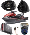 "Kawasaki Jet Ski PWC Marine Kicker KS525 & Rockford Amp Custom 5 1/4"" Black Speaker Pods Package"