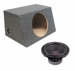 "Power Acoustik CW2-104 Sub Car Stereo Single 10"" Crypt Sealed Hatch Loaded Subwoofer Box Enclosure Package"