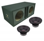 "Power Acoustik CW2-104 Sub Car Stereo Dual 10"" Crypt Custom Paintable Sub Box Loaded Enclosure Package"
