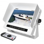 Pyle PLMRM71W Marine Grade Water Proof IPX7 7'' LCD Wide-Screen Monitor with Anti-Glare Shield & Universal Stand - White