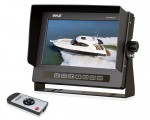 Pyle PLMRM72B Marine Grade Waterproof IPX7 7'' LCD Wide-Screen Monitor with Anti-Glare Shield & Universal Stand - Black