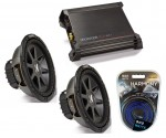 "Kicker Car Audio 10"" Sub System CVR10 Dual 2 Ohm Subwoofer Pair, DX500.1 Amp & Install Wire Kit"