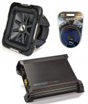 "Kicker Car Audio 15"" Sub System 2011 S15L7 Dual 4 Ohm Subwoofer, DX500.1 Amp & Install Wire Kit"