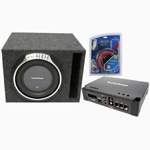 "Rockford Fosgate Amplified Single 12"" Ported Subwoofer Box 2/ P3SD412 Sub P300-1 Amplifier & 8 Gauge Kit"