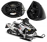"Polaris Snowmobile Kicker Package KS525 Custom 5 1/4"" Gloss Black Speaker Pods Pair"