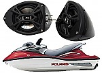 "Polaris PWC Marine Kicker Package KS525 Custom 5 1/4"" Gloss Black Speaker Pods Pair"