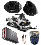 "Polaris Snowmobile Rockford R152 &  PBR300X4 Amp 5 1/4"" Speaker Pod Package"
