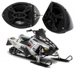 "Polaris Snowmobile Rockford Package P152 Custom 5 1/4"" Gloss Black Speaker Pods Pair"
