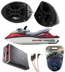 "Polaris PWC Marine Rockford R152 &  PBR300X4 Amp Custom 5 1/4"" Black Speaker Pods Package"